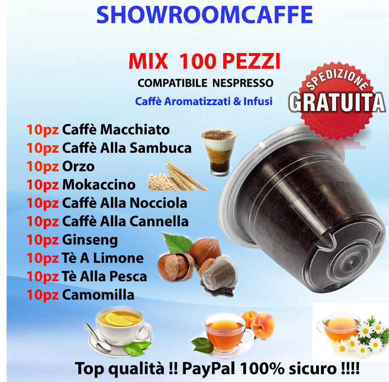 100-Capsules-Compatible-NESPRESSO---MIX-Flavored-Coffees-&-Teas
